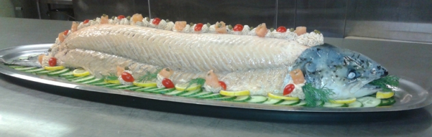 Whole Atlantic Salmon, poached, beautifully decorated with Sauce Olympic or Avocado Sauce